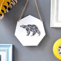 Geometric Bear Artwork  Wooden Bear  Home by CloudsandCurrents