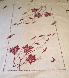 """Vintage Embroidered Tablecloth 69 x 80"""" White Burgundy Falling Leaves"""