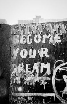Become Your Dream De La Vega  110th Street & Fifth Avenue. 2003? It's an early work by graffiti artist James De La Vega. I didn't know who De La Vega was at the time, but his messages were always inspirational. This particular message became his trademark, and can be seen all over New York. Later on, I discovered that he was a well known artist.  Like all high resolution files in the store, this can be downloaded for $9.95.  It's from 35mm film.