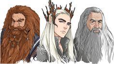 Gloín, Thranduil, Gandalf - by dakkun39