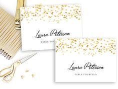 printable place card template gold confetti by simplyfetchingpaper