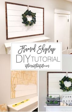 Home Remodeling Business An affordable and quick Framed Shiplap DIY Project! Check out the Full tutorial to easily add the Farm house and Fixer Upper look to your space! Handmade Home Decor, Diy Home Decor, Home Remodeling Diy, Kitchen Remodeling, Diy Décoration, Sell Diy, Diy Crafts, Decor Crafts, Easy Diy