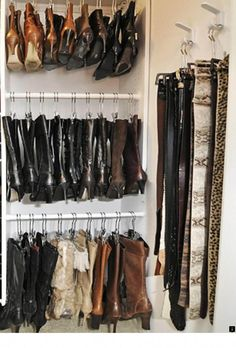 Boot storage idea- I need to find a new way to put up my boots. 27 pairs and th… Boot storage idea- I need to find a new way to put up my boots. 27 pairs and they are taking over! Bedroom Organization Diy, Small Closet Organization, Closet Storage, Bedroom Storage, Organization Ideas, Organizing, Cheap Storage, Creative Storage, Diy Storage