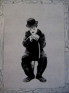 """https://flic.kr/p/7zipJT   Charlie Chaplin   Painted in 2003. You can watch a slideshow ,""""Tribute to Charlie Chaplin"""" in my blog:  gunknitter.blogspot.com/"""