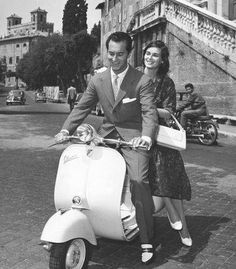 Lucia Bose and Miguel Dominguin, 50's at Roma, Piaxza Spagna