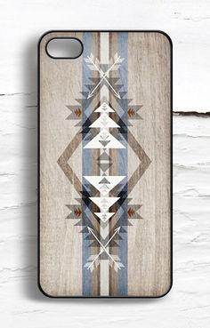iPhone Aztec Geometric Wood Pattern Case