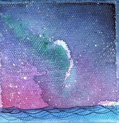 Mini Painting, Night Sky, Ocean Watercolor, Galaxy Artwork, Constellation Painting, Northern Lights Art, 35/100 wishes, seascape