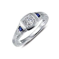 Lafonn's signature Lassaire simulated diamond Platinum Plated Ring R0246CSP05