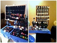 Make Your Own Jewelry Displays for Craft Shows:  Cork Display Board - An easy and attractive way to hang necklaces or packaged jewellery is with a display board.