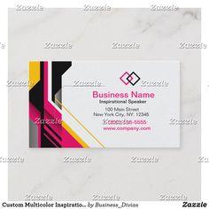 Custom Multicolor Inspirational Speaker Business Card Cards Visit Carte De Visite