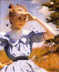 """Eleanor,"" Frank W. Benson, 1901, Oil on canvas, 29.5 x 25, Rhode Island School of Design Museum of Art."