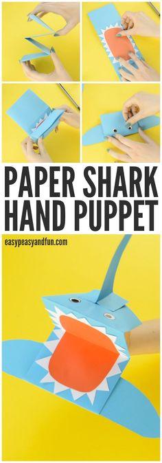 Shark Paper Hand Puppet Craft for kids - Paper Flower Backdrop Wedding Shark Paper Hand Puppet Craft for kids / Animal Crafts For Kids, Summer Crafts For Kids, Crafts For Kids To Make, Fun Crafts For Kids, Diy Arts And Crafts, Toddler Crafts, Preschool Crafts, Projects For Kids, Art For Kids
