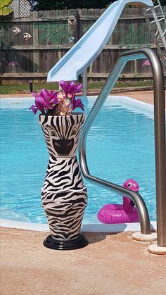 Zebra clay pot