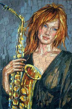 Art by Christian Malto Mosaic Portrait, Portrait Art, Arte Hippy, Munier, Frida Art, Jazz Funk, Mosaic Artwork, 10 Picture, Tile Art