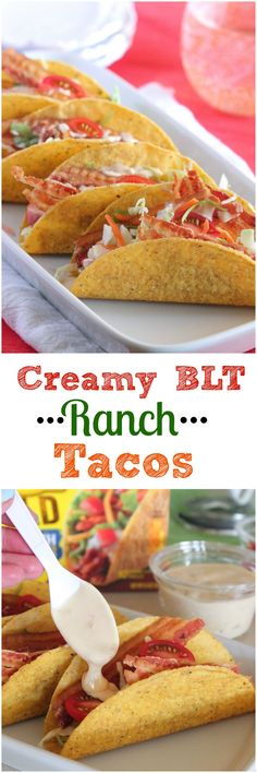 Creamy BLT Ranch Tacos, perfect simple weeknight dinner idea!