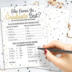 Who Knows Grad Best - Graduation Party Game Cards - White, Black, Gold (25 Guests)-Distinctivs