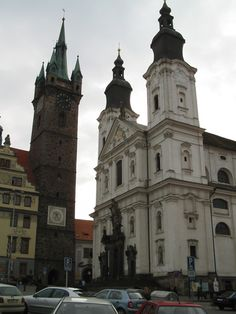 Black Tower and the baroque church on the square - Klatovy, Czech republic
