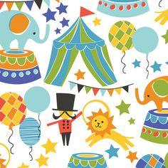 Tissu+scènes+de+cirque+bleu+-+Blend+de+Sudocoud+sur+DaWanda.com
