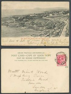 Vintage Old Undivided Back Postcard. South Africa, Cape Town, Sea Point with Botany Bay and Queen's Hotel. Postally Used in 1904 with Cape of Good Hope King Edward stamp, tied Sea Point. Botany Bay, South Africa, Cape, Vintage World Maps, Queen, Sea, History, Photos, Mantle
