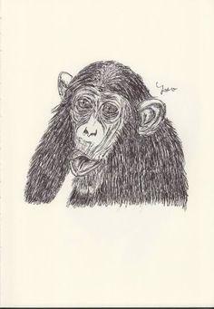 BALLPEN MONKEY 4 Ballpen, Monkeys, Illustrator, Lion Sculpture, Statue, Drawings, Art, Art Background, Rompers