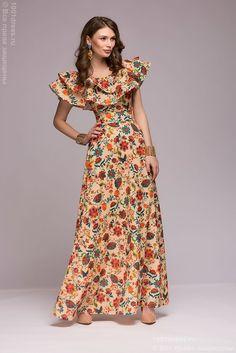 Платье ванильного цвета с принтом длины макси с воланом на плечах купить в интернет-магазине 1001DRESS