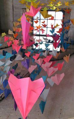 the art room plant: Juliana Capes Origami Installation, Arts Ed, Art Festival, Exhibition Display, Collaborative Art, Art Club, Clothing Accessories, Art School, Ecole Art