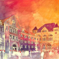 Colorful New Architectural Watercolors by Maja Wronska