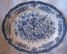 Decorative Dishes - Blue White Toile Transferware Roses Oval Platter, $39.99 (http://www.decorativedishes.net/blue-white-toile-transferware-roses-oval-platter/)