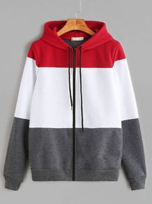 Color Block Drawstring Hooded Zip Up Sweatshirt