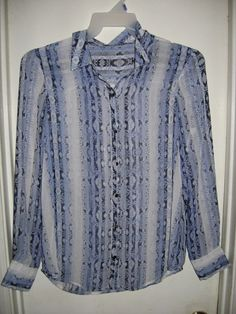 e24817d8107 Ivanka Trump Long Sleeve Button Front Blue Striped Snake Sheer Blouse Top M   IvankaTrump