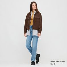 WOMEN CORDUROY RELAXED JACKET, DARK BROWN Uniqlo, Shopping Spree, Outerwear Women, Blazer Jacket, Corduroy, Casual, Jackets For Women, Normcore, Cotton