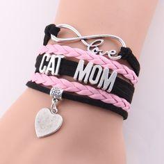 MOM LOVE CAT Heart Charm Handmade Bracelet