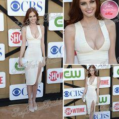 Alyssa campanella sexy. col v profond gaine longueur au genou en mousseline de soie robe bandage célébrités robes de célébrités tapis rouge