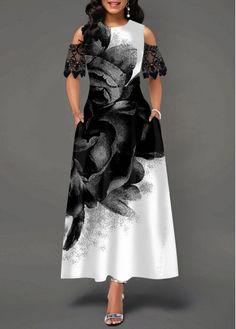 Party Dresses For Women Flower Print Cold Shoulder Lace Panel Dress Women's Fashion Dresses, Casual Dresses, Panel Dress, African Dress, Dress Up, Dress Lace, Designer Dresses, Dresses With Sleeves, Cold Shoulder
