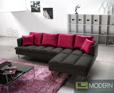 Black exterior balances with contemporary casual or elegant settings. Contrasting red pillows are included. Buy it here! http://moderncontempo.com/prego-sofa.html