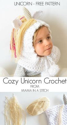 Toddler Magical Unicorn Crochet Hood Pattern Free Crochet Pattern for Toddler Unicorn Hood with pictures to help you as you go! Crochet Kids Hats, Crochet Girls, Crochet Scarves, Crochet Crafts, Crochet Clothes, Crochet Hooded Cowl, Crochet Beanie, Crochet Shawl, Crochet Cape