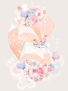 Flowers For Fox by Schmooks Canvas Art
