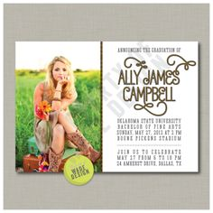 Graduation Announcement / Invitation: Digital Printable Design with Customized Colors and Photo. $15.00, via Etsy.