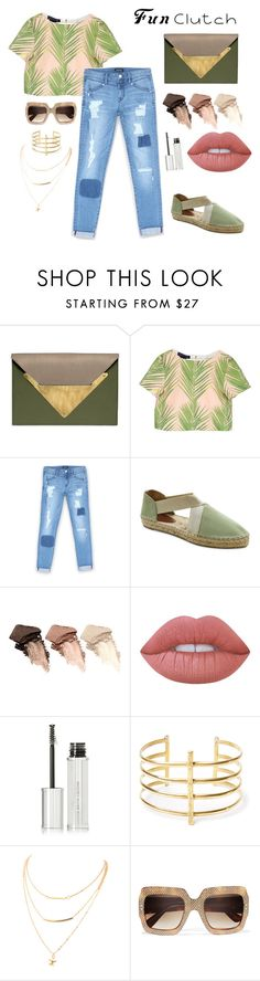"""""""Clutch contest."""" by proud-bee ❤ liked on Polyvore featuring Dareen Hakim, Bebe, André Assous, Urban Decay, Lime Crime, Givenchy, BauXo and Gucci"""