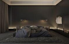 Chambre à coucher grise et très élégante