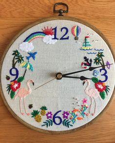 ✂︎Homework  先日wsに参加してくださった方から頂いた宿題のお写真です。 一気に送ってくださったの最後は フラミンゴさんの時計です! * どの作品もひと針ひと針とっても丁寧な上 文字の飾り刺繍や、ビーズの使い方(魚の気泡とか♡)わーかわいい❣️となるポイントがたくさんの作品たちです。⚓︎に浮き輪もそして、HalloweenのホラーなWもなんとも!好みです 眺めていて楽しくなる素敵な作品たちを今回も丁寧な刺繍でありがとうございました * #bangkok #thailand #bkk #workshop #embroidery #needlework #stitching #stitch #mon #刺繍 #モン族 #刺繍飾り #자수 #ワークショップ #バンコク #タイ #手芸 #handembroidery #糸 #手縫い #handmade #ハンドメイド #手仕事 #フラミンゴ #時計 #宿題 #ありがとうございました