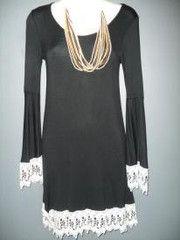 BELL SLEEVE DRESS WITH CROCHET TRIM  $59.00