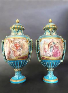 Pair 19th C. French Hand Painted Turquoise Sevres Urns : Lot 0018