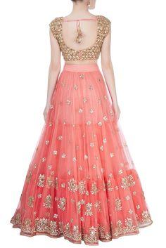 Buy Peach embroidered lehenga set by Mrunalini Rao at Aza Fashions Designer Sarees Wedding, Designer Party Wear Dresses, Indian Designer Outfits, Half Saree Lehenga, Lehnga Dress, Sari, Anarkali, Bridal Lehenga Online, Indian Bridal Lehenga