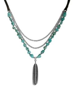 Lucky Brand Necklace Turquoise Feather Pendant