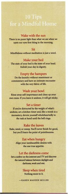 Ten tips for a mindful home.
