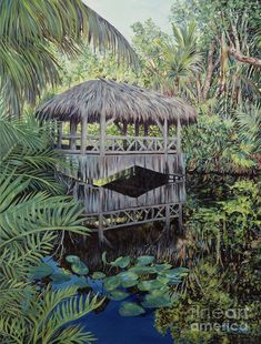 Bridge to Paradise by Danielle Perry ~ tropical tiki bridge jungle Tropical Art, Tropical Paradise, Tropical Paintings, Framed Prints, Canvas Prints, Art Prints, Danielle Perry, Walking In The Rain, Acrylic Painting Canvas