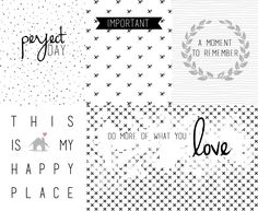 Free Black & White Journal Cards for Project Life