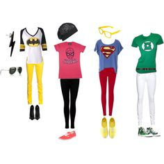 Superhero hero outfits I made. :)  Totally want the Superman one!