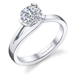 SASHA-- Elegant solitaire  profile engagement ring. Fits flush with a wedding band.